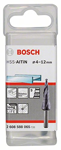 Bosch 2608588065 4/5/6/7/8/9/10/11/12 mm HSS-AlTiN Step Drill Bit Test