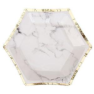 Neviti Scripted Marble - Plato para fiestas (tamaño pequeño), diseño de mármol