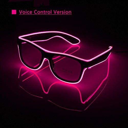 OS Leuchtbrille LED, farbintensiv und auffallend - Partyzubehör für Rave, Disco, Club, Festivals, Kostümpartys, Fasching, Mottoparty, Maskerade mit Batterie Controller Erhöhen Sie die Sprachsteuerung (D)
