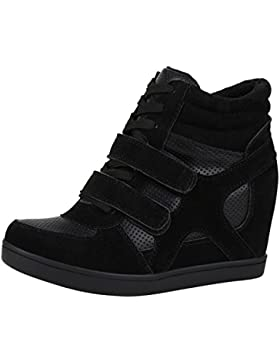 Sportliche Damen Basic Sneaker-Wedges Bequeme Sneakers