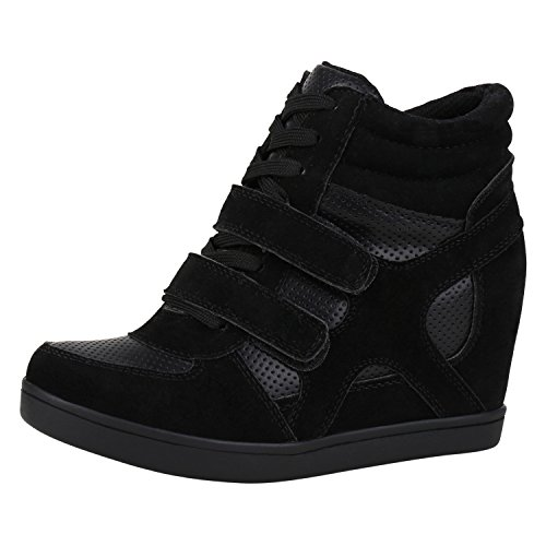 napoli-fashion Sportliche Damen Basic Sneaker-Wedges Bequeme Sneakers Keilabsatz Schuhe Schwarz 36 Jennika