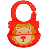 FunNPlay Silicone Bib For Infants And Toddlers With Pocket - Red Lion