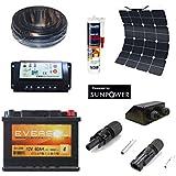 Kit solaire complet panneau flexible12V 50W pour camping-car / bateau expédié depuis la France