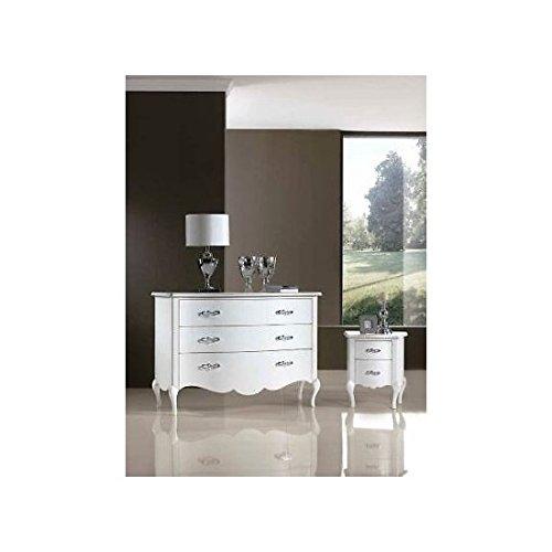 EsteaMobili Buffet Commode Como '3 tiroirs laqué Blanc – comme Photos Blanc et Ivoire