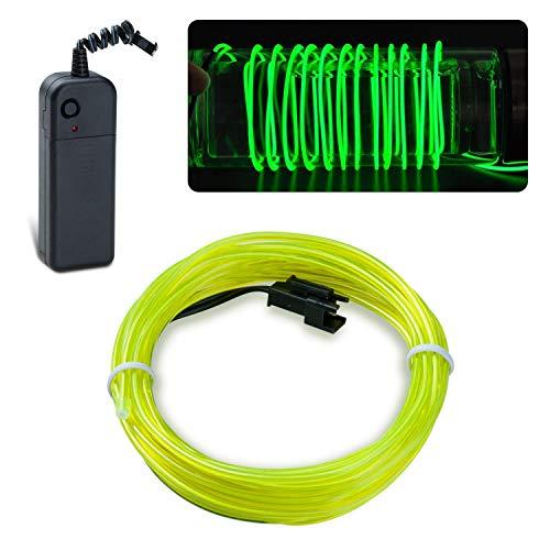 Lychee Flexibel 15 ft 5 m Neon Beleuchtung Draht Lichtschlauch Leuchtschnur El Kabel Wire mit 3 Modis für Partybeleuchtung(Grün)