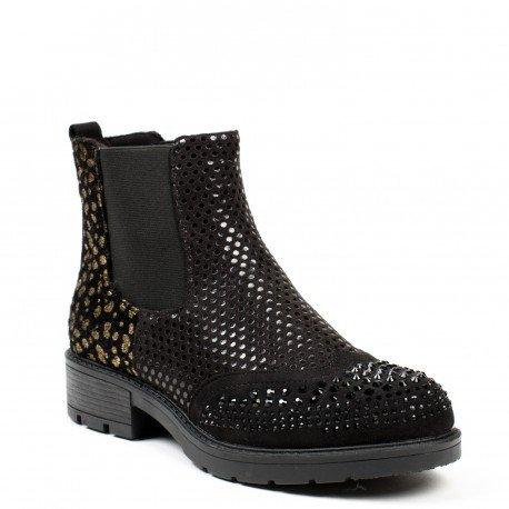 Ideal Shoes - Bottines chelsea bi-matière avec strass et imprimé fantaisie Malika Noir