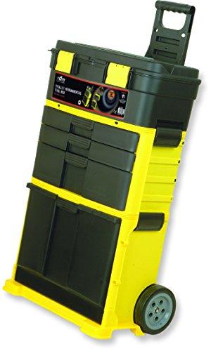 Trolley de herramientas profesional RDM Quality Tools 76901, desmontable, 3 módulos y 6 compartimentos, asa regulable, con ruedas, cierres reforzados. Color amarillo y negro.