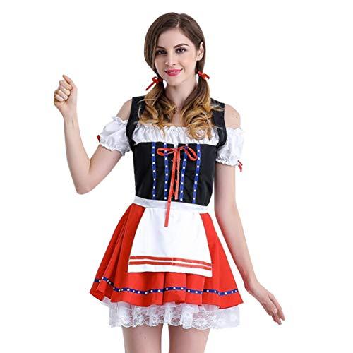 MRULIC Damen Spitzenkleid Oktoberfest Kostüm Maid Dirndl Cosplay Dress Festkleider Party (EU-38/CN-L, Rot)