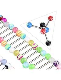 Trifycore 60pcs Surtido Piercing Pezón Bolas Lengua Bares Anillo Profesional joyería Piercing del Cuerpo de Uso de múltiples Anillos Ombligo Coloridas Color Mixto, Perforación Bolas