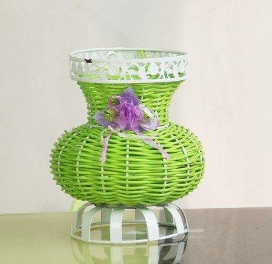 Rattan Rattan Iron Flowerpot Handmade Flower Basket Modern Simple Fashion Big Belly