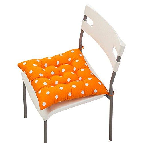 Stuhlkissen, einfarbig, gesteppt, weich, zum Festbinden, für zu Hause/Büro, Polyester, Orange mit Punkten, #2-Orange Polka Dot (Dot Orange Polka)