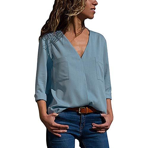 87e2c1cba VJGOAL Otoño Mujer Casual Manga Larga Sexy V Cuello Sólido con Bolsillos  Clásico Salvaje Camisetas Tops Blusa(L,Azul)