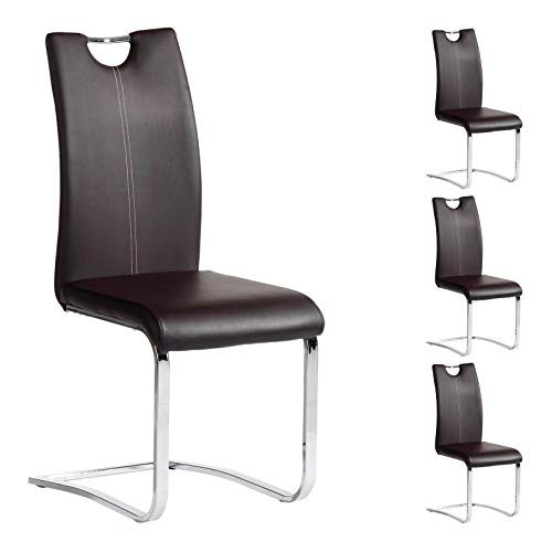 IDIMEX Esszimmerstuhl Schwingstuhl SABA, Set mit 4 Stühlen, Chrom/braun