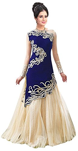 Market Magic World Women\'s Georgette Semi stitched Anarkali Salwar Suits Sets (Free Size_ Blue _Dress_MMW2244)