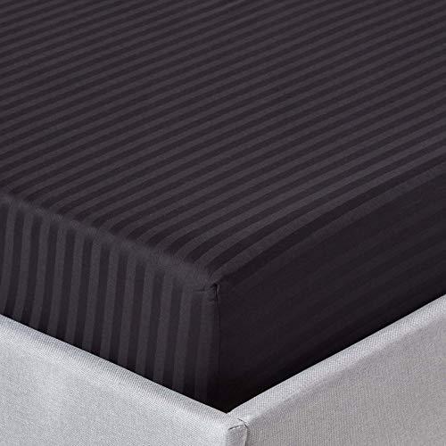 Homescapes Spannbettlaken/Spannbetttuch 180 x 200 cm schwarz mit Satin-Streifen - 100% Reine ägyptische Baumwolle Fadendichte 330 -