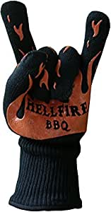 Hellfire BBQ Gloves Protect from Flames and Heat up to 666F--That's Devilishly Hot! Premium Barbecue and Kitchen Heat Resistant Mitt has 5 Flexible Fingers for Grill, Smoker, Oven Baking, Fireplace, or Withstanding Eternal Torment! Non-slip Silicone Grip -- Professional Quality Accessory could also Save Your Afterlife! 666 Day Satisfaction Guarantee is Unique