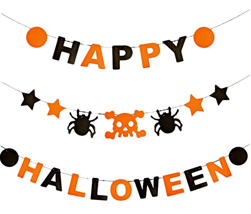 uesae Halloween Banner Wimpelkette Pennant Aufhängen Flaggen Spider Kürbis Fledermaus Halloween Dekorationen Maske Kostüm Party Cosplay Karneval Zubehör Make Up Thema Party 2 m ()
