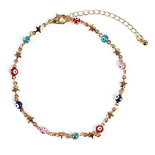TLZR Pulsera de Cadena de Cuentas de Estrella para Mujer, Accesorios de joyería, Brazalete Elegante y Encantador Gold