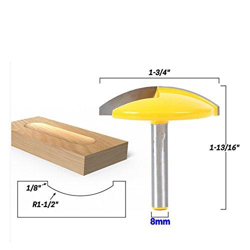 AKUTA 8mm Schaft Kleine Schale Router Bit–1–1/5,1cm Radius–1–3/10,2cm Breite Tür Messer Holz Cutter