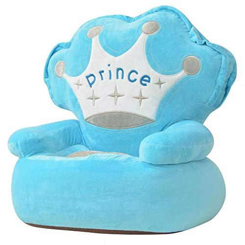 SOULONG Tier Plüsch Kinderstuhl Sessel sitzen Stuhl Kissen Sofa mit Gestickte Krone und Princess-Schriftzug Kindermöbel für Wohnzimmer Schlafzimmer, Prinz Blau, Polyester PP Füllung, 52 x 48 x 50 cm