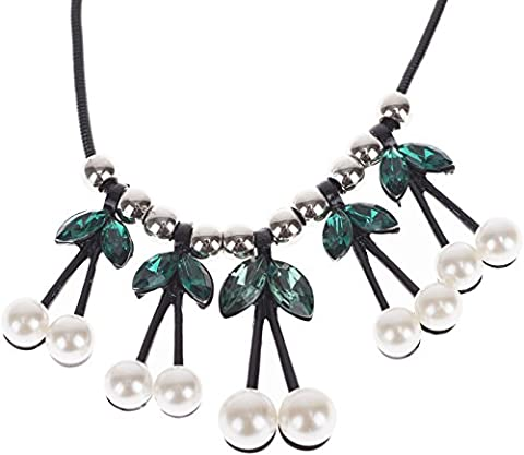 Cute KIRSCHEN Cherries PEARLS Perlen Strass Black HALSKETTE / Necklace Rockabill