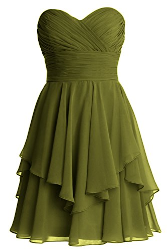 MACloth Women Short Wedding Party Bridesmaid Dress Strapless Tiered Cocktail Olive Green
