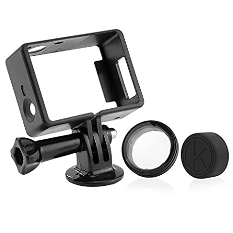 CamKix Frame Mount for GoPro Hero 4, 3+, and 3 / USB, HDMI, and SD Slots Fully Accessible - Light and Compact Housing for Your Action Camera - Includes 1 Large Thumbscrew / 1 Tripod Mount / 1 Rubber Lens Cap / 1 UV Filter Lens
