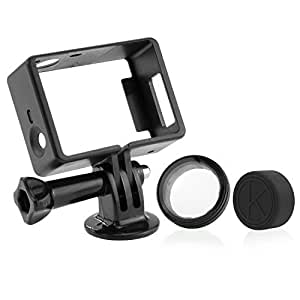 CamKix Frame Mount for GoPro Hero 4, 3+, and 3 / USB, HDMI, and SD Slots Fully Accessible - Light and Compact Housing for Your Action Camera - Includes 1 Large Thumbscrew / 1 Tripod Mount / 1 Rubber Lens Cap / 1 UV Filter Lens Protector