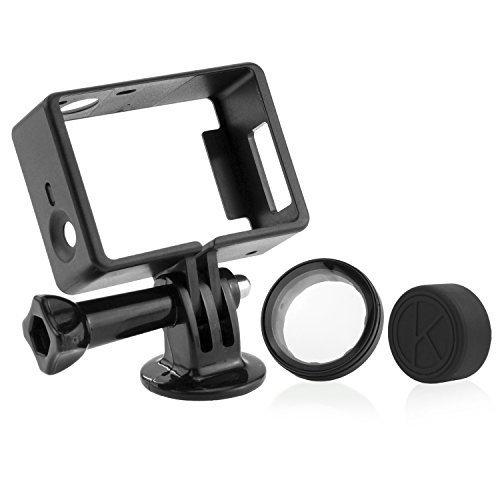 CamKix Halterung für GoPro Hero 4 Rahmen , 3+ und 3 / USB , HDMI und SD- Slots voll zugänglich - Licht und kompaktes Gehäuse für Ihre Kamera - Inklusive 1 Large Thumbscrew / 1 Stativgewinde / 1 Rubber Lens Cap / 1 UV- Filter Objektiv-Schutz (Gopro Hero 3 Halterungen)
