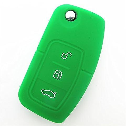 Happyit 2 pcs Silicone Housse de Protection à Distance pour Voiture apte à Ford Fiesta Focus 2 Ecosport Kuga Escape MK2 3 Boutons à Bascule (Vert)