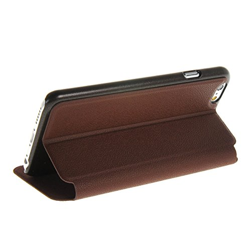 MOONCASE Case pour Apple iPhone 6 ( 4.7 inch ) Window View Coque en Cuir Housse de Protection Étui à rabat Doré wine