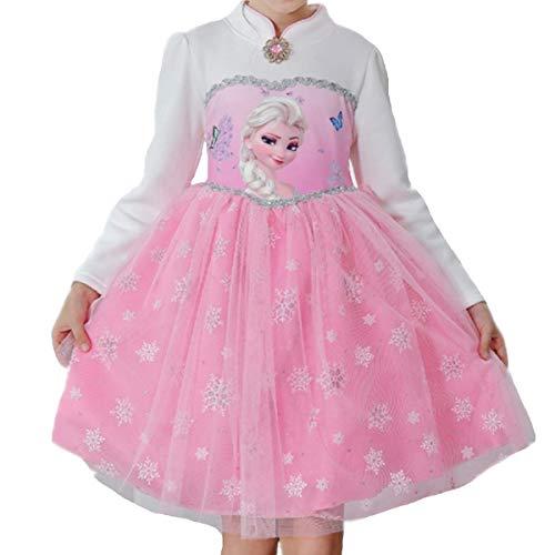 Mädchen Kostüm Prinzessin Kleid Kostüme Eiskönigin Prinzessin Kostüm Kinder Kleid Mädchen Weihnachten Verkleidung Karneval Party Halloween Fest Winter Romantik Aisha Princess - Langärmliges Netzkleid