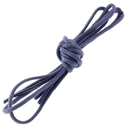 Les lacets Français - Lacets Ronds Coton Ciré Couleur Bleu Plomb