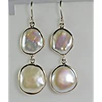 Fresh Water Coin Pearl Earrings, 925 Solid Sterling Silver Pearl Earring