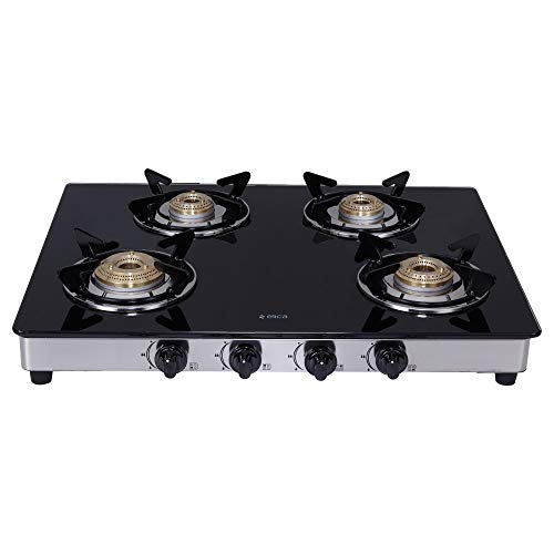 Elica Vetro Glass Top 4 Burner Gas Stove with Double...