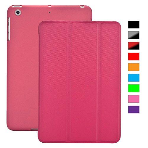 Khomo iPad Mini 1, 2, 3 Hülle Case Dunkelrosa Gehäuse mit doppelten Schutz ultra dünn und leicht, Smart Cover  - Italic Dark Pink