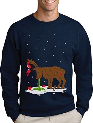 Green Turtle T-Shirts Witziges Ugly Sweater Geschenk Verkatertes Rentier Sweatshirt Medium Marineblau