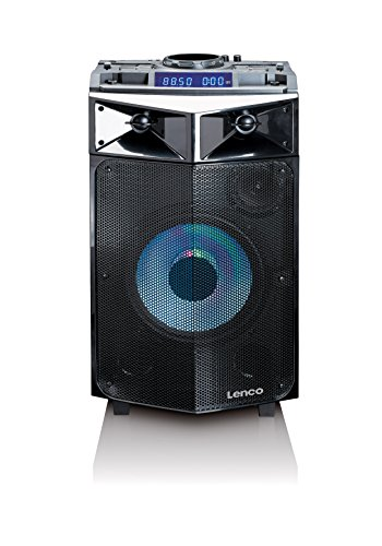 Lenco PA-Anlage PMX-240 Mobile, DJ-Mixer und Licht-Effekten (Bluetooth, USB, UKW, Gitarren-Anschluss, Mikrofon)