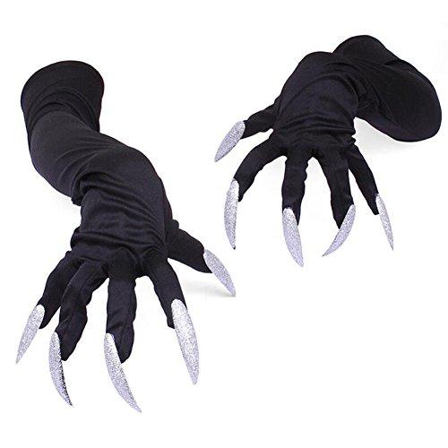 Fayear Halloween Damen Lange Fingernägel Schwarz Gothic Handschuhe Langarmhandschuhe Cosplay Kostüm Zubehör