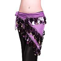 ROYAL SMEELA Danza del Vientre Bufanda de la Cadera Disfraz para Mujer Falda Cruzada de Baile Flamenco Gitano Moneda de Plata Plateada Triángulo Caderas Bufandas Ropa de Mujer
