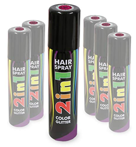 KarnevalsTeufel Hairspray 2in1 Color und Glitter buntes Haarspray mit Glitzer Haarschmuck farbig (Pink)