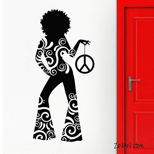 guijiumai Hot Girl Wandtattoos Hippie Dance Night Club Wandaufkleber Für Teen Schlafzimmer Vinyl Tapete Kunstwandhauptdekoration rot 56x120 cm