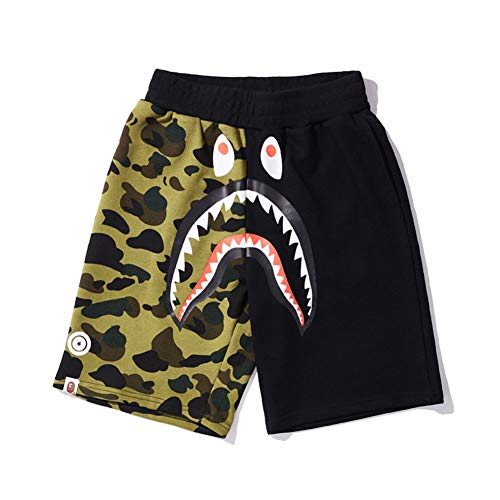 71cea360ed5 drter Bape AAPE Camouflage Color Matching Shark Mouth Print Casual Shorts  Men's Loose Pants