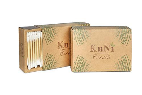 KuNi Buds | Bambus und Baumwolle Wattestäbchen | 2er Pack Bambuswattestäbchen (400 Stück) | 100% biologisch abbaubar, nachhaltig & vegan | kompostierbar | plastikfrei | umweltfreundlich 2er Pack Bambus