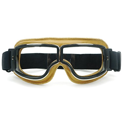 Heinmo Motocross Aviator Ski Motorrad Roller Brille Retro Helmbrille für Harley (White lens yellow padding)