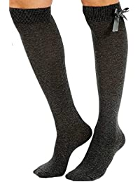 a16fbe5769c High Quality Girls Children School Value Pack Of 3 (THREE) Pairs Of Plain  Grey Navy Blue Black White Knee High Socks With Bow. 10%…