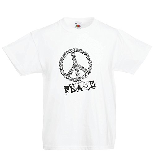 Kinder Jungen/Mädchen T-Shirt Willst du Stück von Mir - Frieden Slogan, 60er 70er Hippie - Hippie Festivals, Hipster Swag (3-4 Years Weiß Mehrfarben)