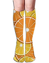 LUOL Sport Perfect Gifts Gym Casual High Knee Socks Stockings Unisex Oranges Sports Outdoor Tube Stocking