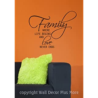 Wall Décor Plus More WDPM2336 Family Where Life Begins and Love Never Ends Wall Sticker Vinyl Decal Quote, 23-Inch x 18-Inch, Black