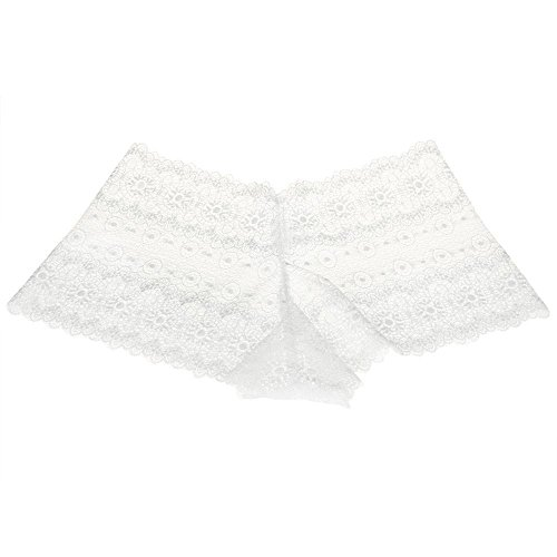 Damen Unterhosen Nahtlose Spitzen Höschen Slips Unterwäsche Unterhosen Dessous Höschen Tangas (Weiß, M) (Kurzen Höschen Form)
